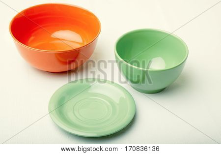 The various plates on a textured background