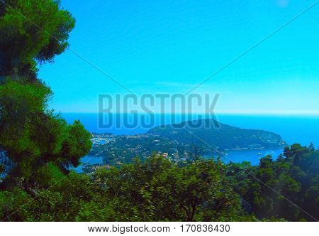 View of Nice Villefranche-sur-Mer Cape Cap-Ferrat on a bright sunny day. Cote d'Azur French Riviera France