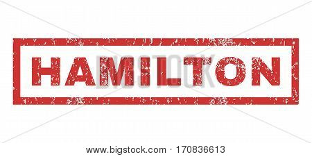Hamilton text rubber seal stamp watermark. Tag inside rectangular shape with grunge design and unclean texture. Horizontal vector red ink sign on a white background.
