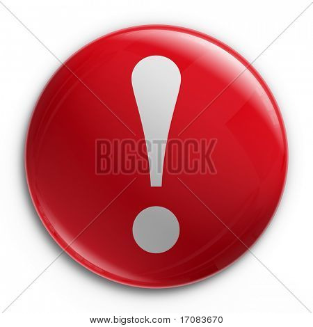 3d rendering of a badge with an exclamation point