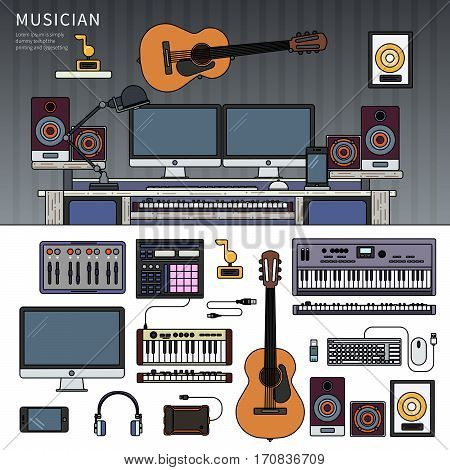 Musician workspace. Musician working cabinet with digital equipment, dynamic microphone, digital studio mixer and keyboard synthesizer. Computer, headphones, guitar, sequencer, loudspeaker isolated on white background. Thin line flat design
