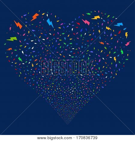 Electric Strike fireworks with heart shape. Vector illustration style is flat bright multicolored iconic symbols on a blue background. Object stream done from scattered pictograms.