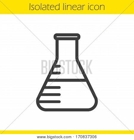 Lab beaker linear icon. Thin line illustration. Contour symbol. Vector isolated outline drawing