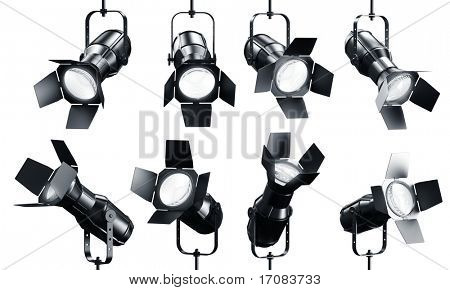 3d rendering of multiple spotlights on a white background