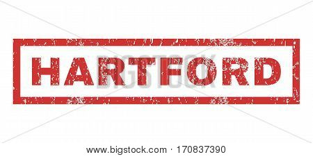 Hartford text rubber seal stamp watermark. Caption inside rectangular banner with grunge design and dirty texture. Horizontal vector red ink emblem on a white background.
