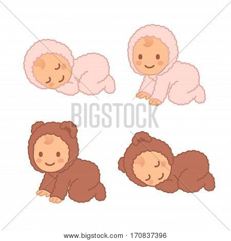 Cute cartoon baby in fuzzy bear onesie sleeping and crawling. Adorable vector newborn illustration set.