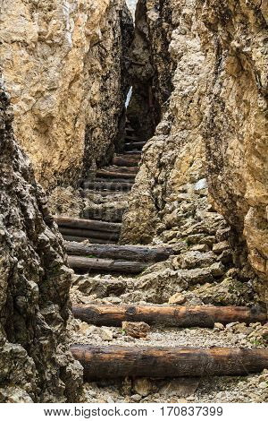 ruinf of ww1 trench in Sass de Stria mount Alto Adige Italy