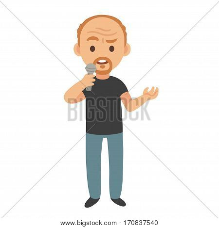 Middle aged stand up comedian or talk show host isolated vector cartoon character illustration.