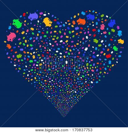 Piggy Bank fireworks with heart shape. Vector illustration style is flat bright multicolored iconic symbols on a blue background. Object heart organized from random icons.