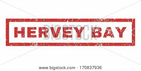 Hervey Bay text rubber seal stamp watermark. Caption inside rectangular shape with grunge design and dust texture. Horizontal vector red ink sign on a white background.