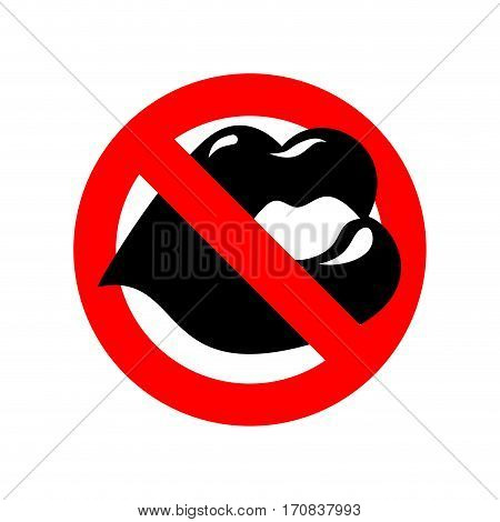 Stop Kiss. Lip On Prohibiting Red Sign. Ban Kisses