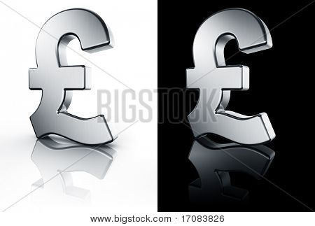 3d rendering of the pound sign in brushed metal on a white and black reflective floor.