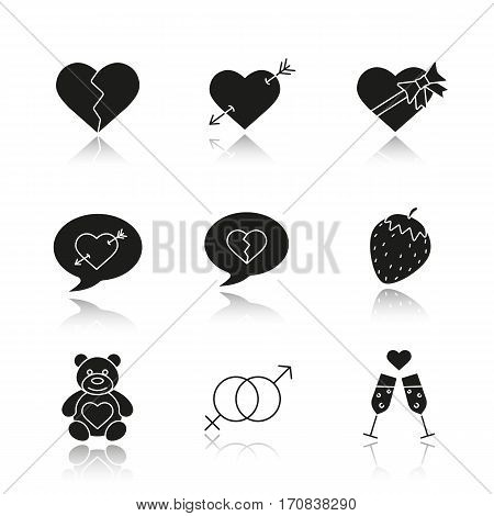 Valentine's Day drop shadow black icons set. Heartbreak, love messages, sex and erotic symbols, champagne, teddy bear, arrow piercing heart, candy box. Isolated vector illustrations