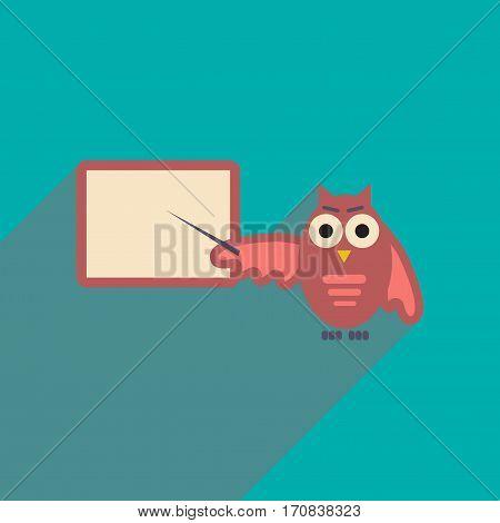 flat icon with long shadow owl teacher