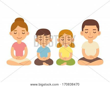 Family meditating sitting in lotus pose young adults and children. Cute cartoon meditation and mindfullness lifestyle illustration.