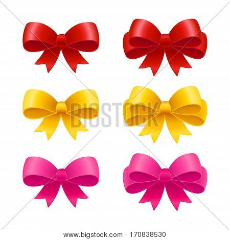 Set of realistic ribbon bows pink golden and red. Gift packaging and holiday celebration design elements.