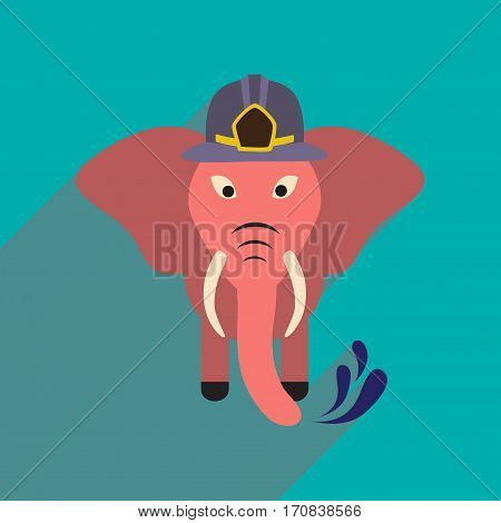 flat icon with long shadow elephant cartoon
