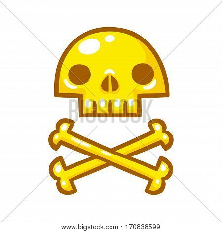 Stylized golden skull with crossbones. Pirate treasure vector illustration in hand drawn cartoon style.