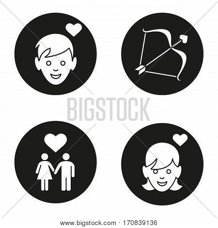 Valentine's Day icons set. Enamoured boy and girl, man and woman holding hands, Cupid's bow and arrow. Vector white silhouettes illustrations in black circles