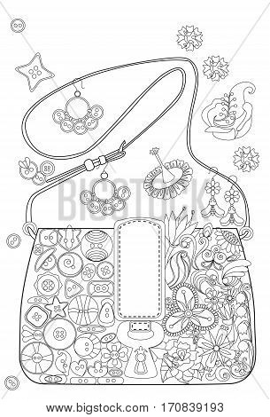 Coloring book page for adults (grown ups). Bag with flowers and buttons.  White background.