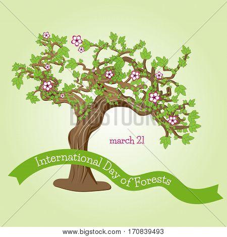Card or logo for International Forest Day. Vector illustration