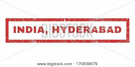 India Hyderabad text rubber seal stamp watermark. Tag inside rectangular shape with grunge design and dust texture. Horizontal vector red ink sticker on a white background.