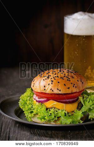 Homemade Hamburger With Beer And Potatoes