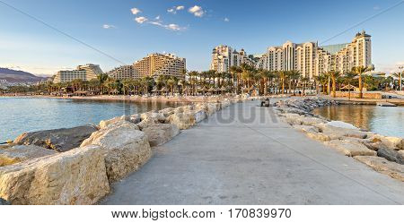 View on the central public beach of Eilat from walking pier, Israel
