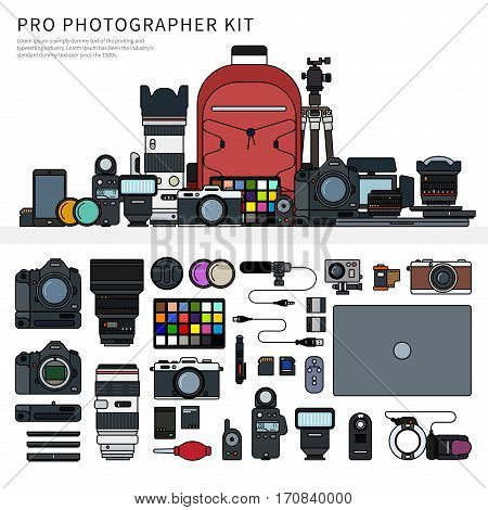 Thin line flat design of photographer tools on the shelf. Set of photographer equipment, rucksack, tripod, laptop, lens, cables, cameras isolated on white background