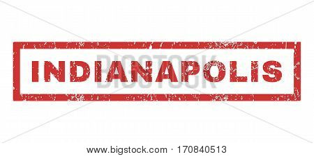 Indianapolis text rubber seal stamp watermark. Caption inside rectangular banner with grunge design and dirty texture. Horizontal vector red ink sign on a white background.