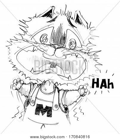 Cat cartoon to agape because he was scary and shock funny acting design Character pencil sketch design black and white.
