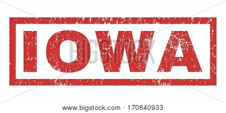 Iowa text rubber seal stamp watermark. Tag inside rectangular banner with grunge design and dust texture. Horizontal vector red ink sign on a white background.