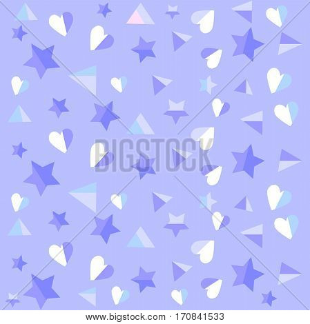 Delicate blue colored heart and stars background - vector Eps10 illustration.