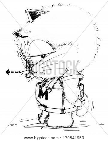 Cat cartoon to complaining and pointing someone and his tail is falling to pointing the same his finger Character pencil sketch design black and white.