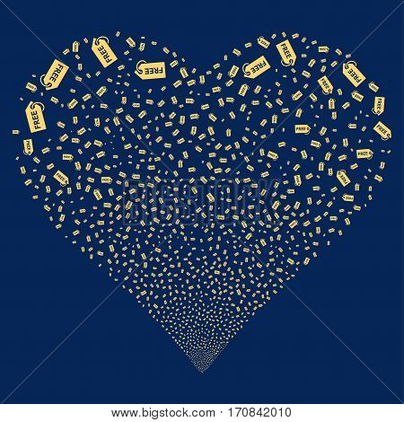 Free Tag fireworks with heart shape. Vector illustration style is flat yellow iconic symbols on a blue background. Object salute organized from scattered pictograms.