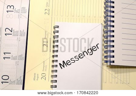 Messenger text concept write on notebook .