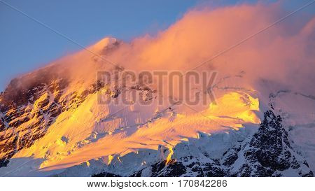 Landscape Detail Of Glacier In Colorful Golden Sunset, Nz