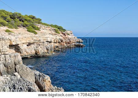 Landscape rocks on the beach Majorca Spain