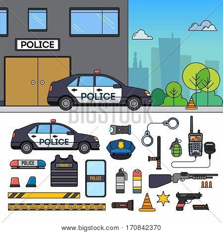 Police car, police department, stands on the street. Police station, car, weapon, helmet, police hat, police bat, hands in handcuffs, revolver, police uniform isolated on white background. Safety concept