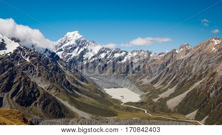 Panoramic View Of Hooker Valley And Mt Cook, Nz