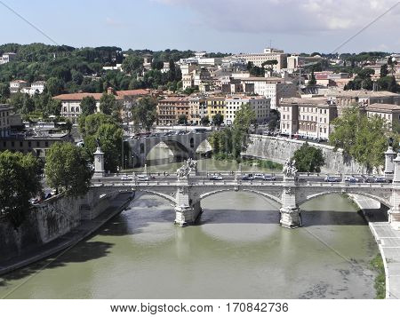 Bridge Sant'Angelo in Rome also known as helium deck or forecastle deck; sant'angelo bridge connects the square to the Tiber Vatican. Along the statues are placed bridge saint peter and paul and the four evangelists