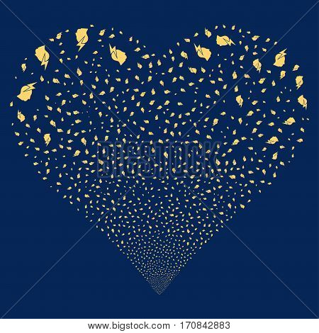 Person Stress Strike fireworks with heart shape. Vector illustration style is flat yellow iconic symbols on a blue background. Object heart combined from scattered icons.