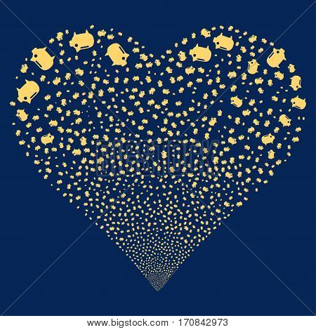 Piggy Bank fireworks with heart shape. Vector illustration style is flat yellow iconic symbols on a blue background. Object heart made from confetti pictograms.