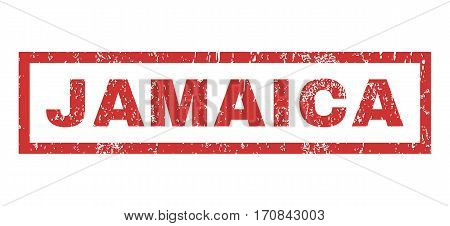 Jamaica text rubber seal stamp watermark. Tag inside rectangular banner with grunge design and dust texture. Horizontal vector red ink sign on a white background.