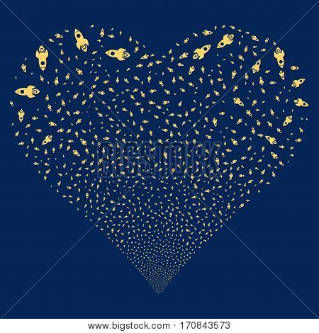 Space Rocket fireworks with heart shape. Vector illustration style is flat yellow iconic symbols on a blue background. Object salute done from scattered icons.