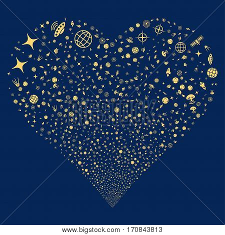 Space Technology Symbols fireworks with heart shape. Vector illustration style is flat yellow iconic symbols on a blue background. Object salute done from scattered design elements.