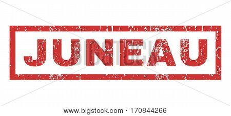 Juneau text rubber seal stamp watermark. Tag inside rectangular banner with grunge design and dirty texture. Horizontal vector red ink sticker on a white background.
