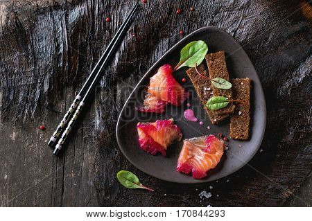 Salted Salmon With Beetroot