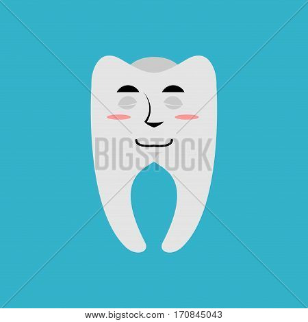 Tooth Sleeping Emoji. Teeth Asleep Emotion Isolated