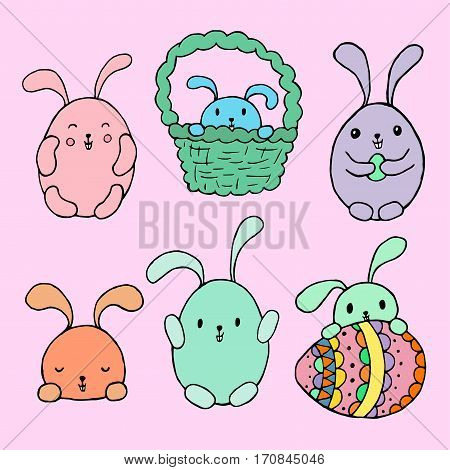 Easter bunny rabbit set. Black white vector illustration. Hand drawn sketch for posters greeting cards decoration tattoo print or t-shirt. For your design and buisness.